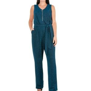 NY Collection 3X Blue Glitter Sash Jumpsuit 5AM71